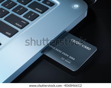 3d rendering on line shopping internet credit card on laptop