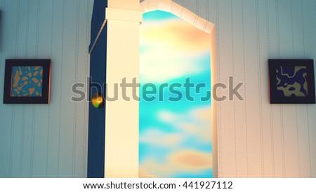 3d rendering open door to the future concept. Beautiful pastel color sky. - stock photo