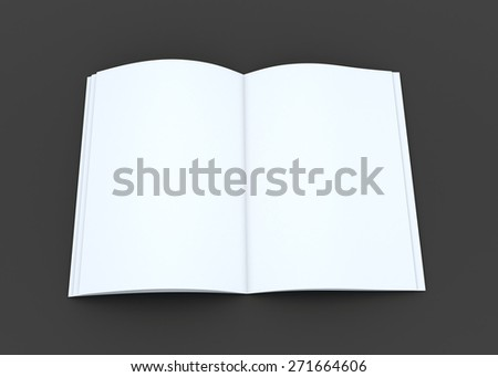 3D Rendering Opened Book or Magazine, Brochure in Dark Background with Work Paths, Clipping Paths Included.
