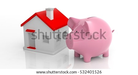 3d rendering pink piggy bank and a house on white background