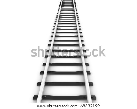 3d rendering railway track, isolated on white background. - stock photo
