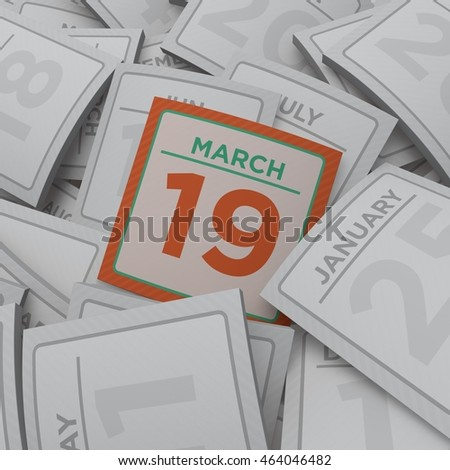 3d rendering random calendar pages 19 march