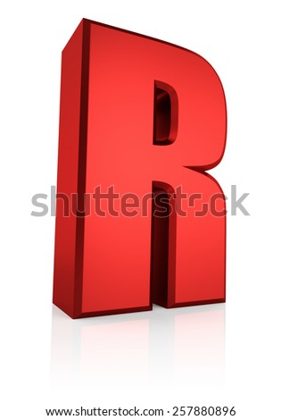3d rendering red letter R isolated on white background  - stock photo