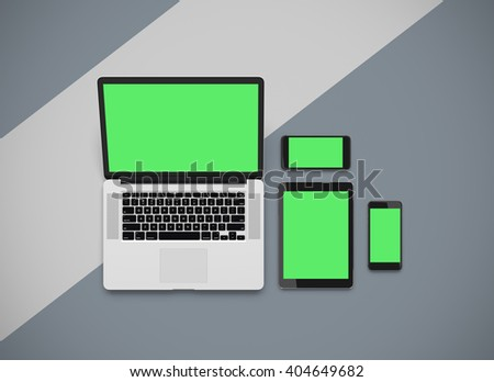 3D rendering - Responsive mockup of a laptop, digital tablet and smart phone. Clipping paths for displays included. - stock photo
