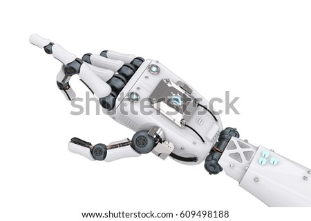 3 D Rendering Robotic Hand Pointing Isolated Stock Illustration ...
