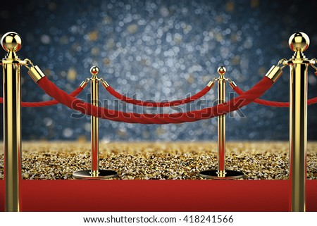 3d rendering rope barrier on red carpet with dark background - stock photo