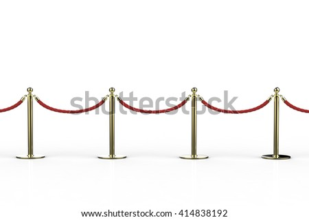 3d rendering rope barrier on white background - stock photo