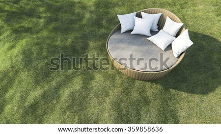 3d rendering round outdoor sofa in the grass field - stock photo