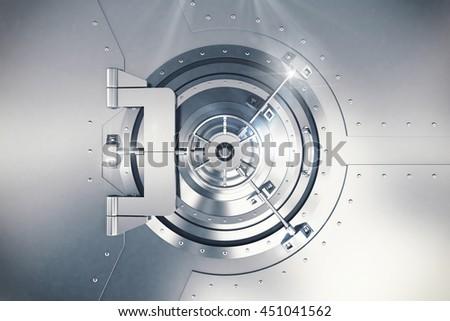 3D Rendering safe door - stock photo
