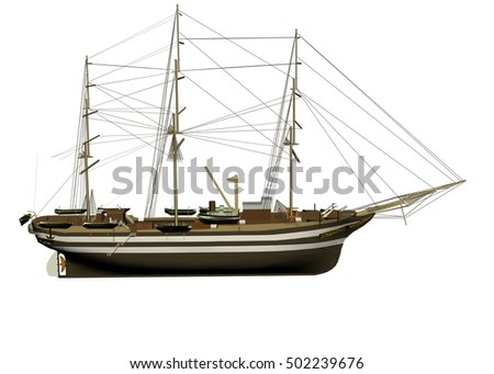 3d rendering sailor old boat isolated on white