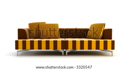 3d rendering scene with stylish striped couch
