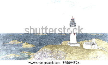 3d rendering Seascape at sunset. Lighthouse on the coast 8 - stock photo