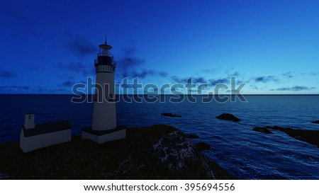 3d rendering Seascape at sunset. Lighthouse on the coast 4 - stock photo