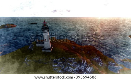 3d rendering Seascape at sunset. Lighthouse on the coast 5 - stock photo