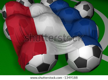 3D-rendering Serbia and Montenegro flag and soccer-balls - competitor of World Championship - stock photo