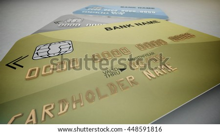 3d rendering. Set of color credit cards isolated on white background.