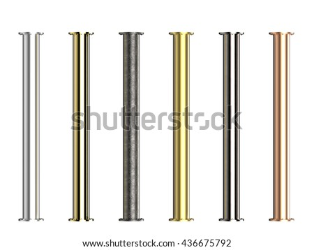3d rendering shiny metal pipes with joints isolated on white - stock photo