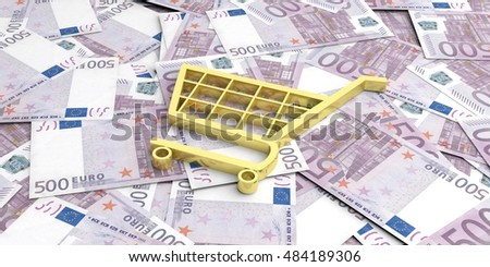 3d rendering shopping cart on 500 euros banknotes background