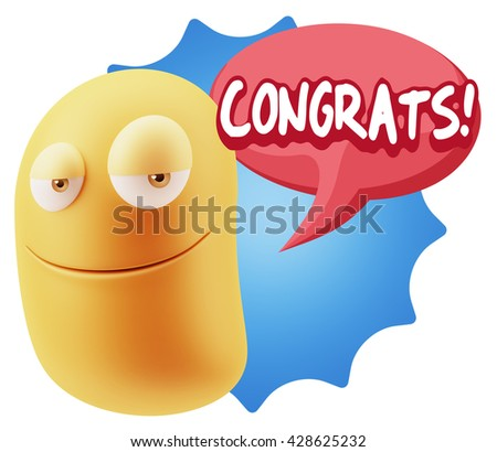 3d Rendering Smile Character Emoticon Expression saying Congrats with Colorful Speech Bubble.