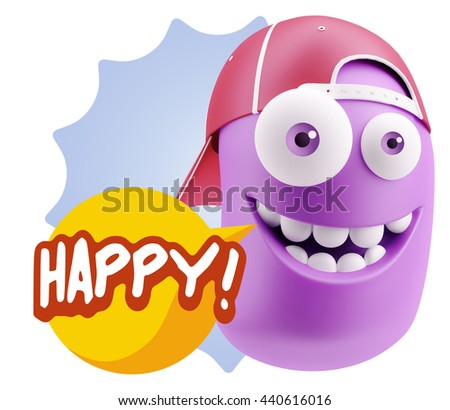 3d Rendering Smile Character Emoticon Expression saying Happy with Colorful Speech Bubble - stock photo