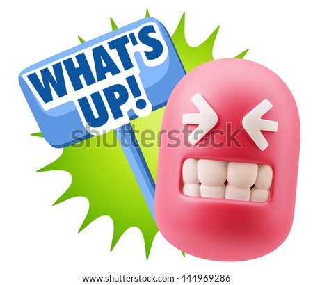 3d Rendering Smile Character Emoticon Expression saying What'S Up with Colorful Speech Bubble