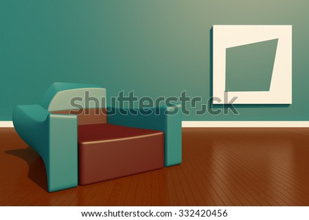 3D rendering sofa and picture frame, modern style.