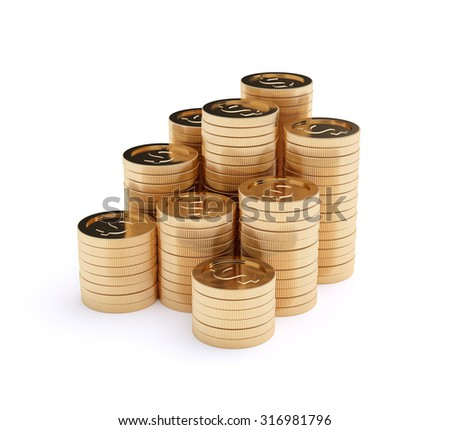 3d rendering stacks of golden coins isolated on a white background - stock photo