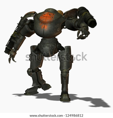 3D Rendering Steampunk combat robots from a front view - stock photo