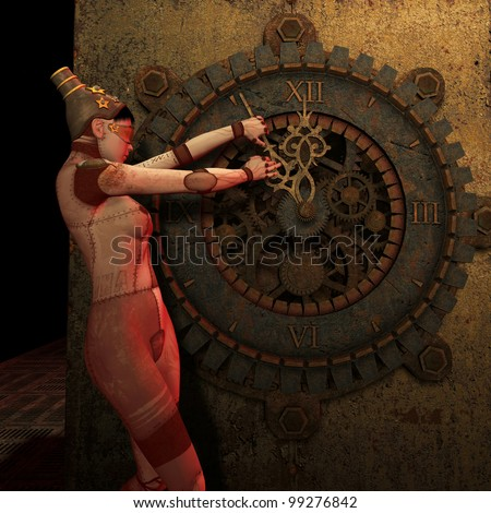 3D Rendering Steampunk turn back time