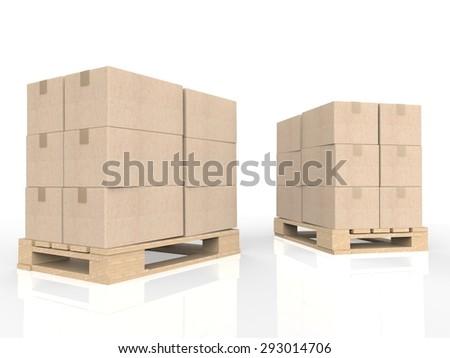 3d rendering stockpile on pallet - stock photo