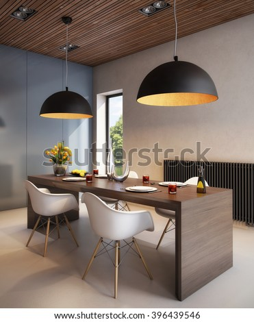 3D rendering Stylish Dining Room in Warm Colors - stock photo