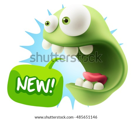 3d Rendering Surprise Character Face Emoticon saying New with Colorful Speech Bubble.