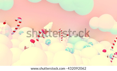 3d rendering sweet candy world. Marshmallow clouds, cotton candy land, ice cream, cupcakes and peppermint flavor candy canes, - stock photo