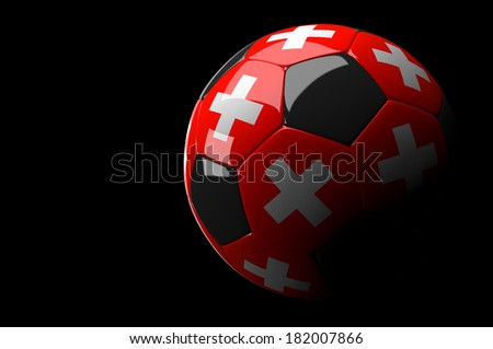 3d rendering Switzerland soccer ball on dark  background - stock photo