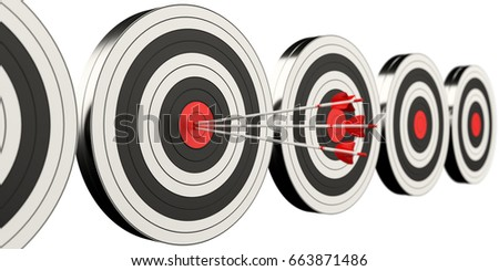3D rendering target black white and red target with arrows on white background
