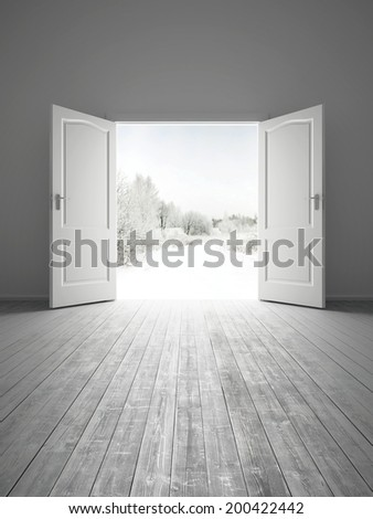 3d rendering the empty white room with opened door - stock photo