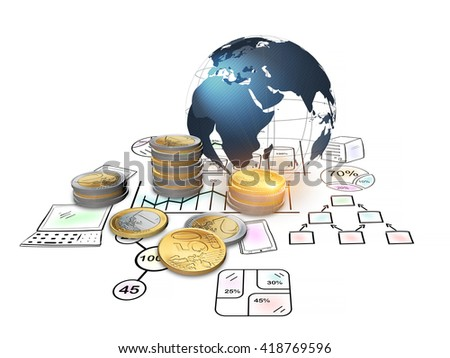3D rendering, The global economy with sketches and euro coins financial concept.