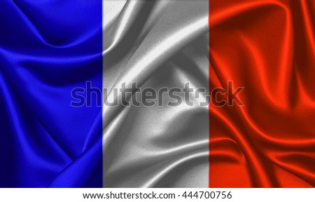 3D rendering The national flag of France is a tricolour flag featuring three vertical bands coloured blue (hoist side), white, and red
