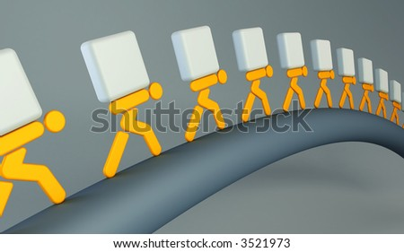 3d rendering the symbolic people with the loads - stock photo