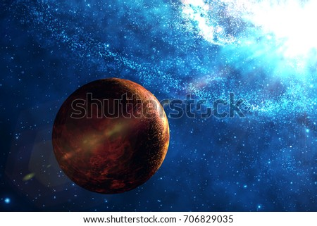 The Venus In Outer Space With Beautiful Galaxy Background