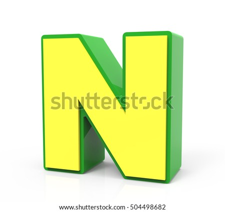 3d rendering Toy letter N isolated on white background, yellow alphabet with green frame, right leaning