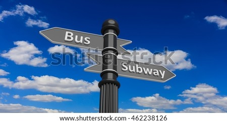 3D rendering two grey arrowheads on signpole against of cloudy sky.Bus and subway