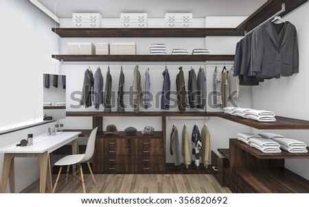 3D rendering walk-in closet with make up table - stock photo