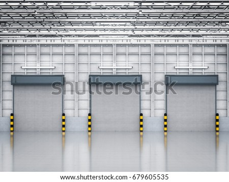 3d Rendering Warehouse Interior With Shutter Doors Closed