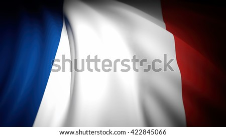 3D rendering, wavy  flag of France, closeup background
