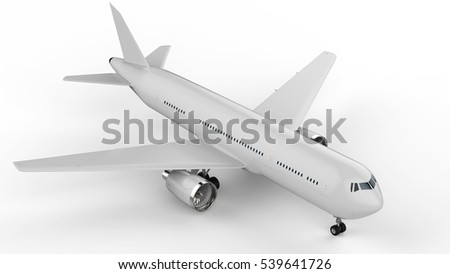 3d rendering white airplane on white background