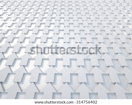 3d rendering white arrow background - stock photo