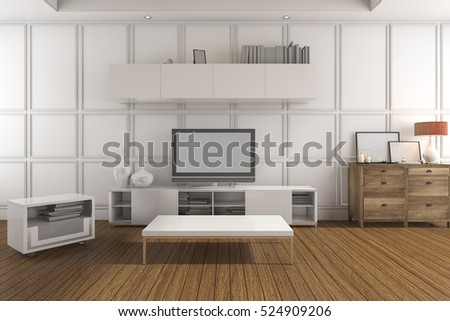 3d rendering white classic living room with tv set