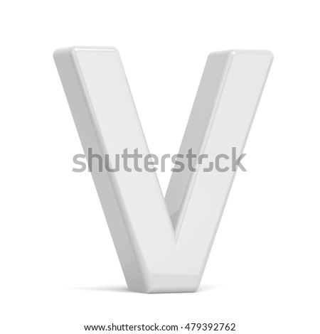 3D rendering white letter V isolated on white background