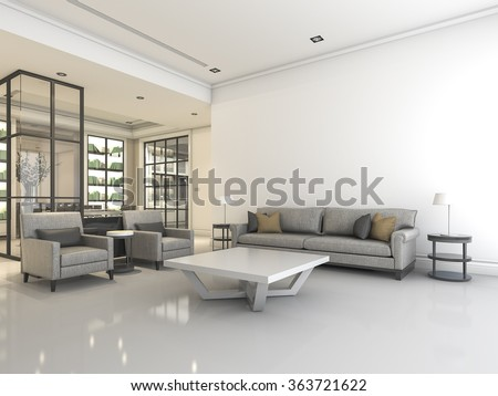 3D rendering white living room with sofa and armchair - stock photo